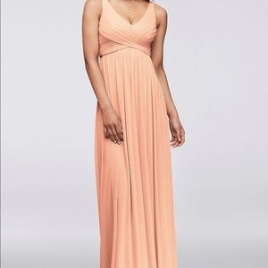 David's Bridal Peach Bellini V Neck Gown
